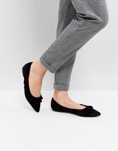 Туфли на плоской подошве с острым носом Glamorous - Черный