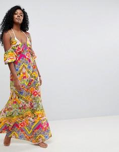 Пляжное платье макси с открытыми плечами и кубинским плиточным принтом ASOS - Мульти