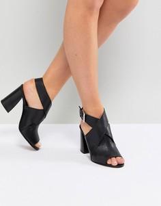 Кожаные босоножки на каблуке ASOS TAKOTA - Черный