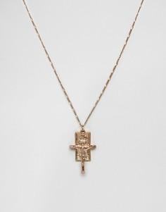 Золотистое ожерелье с распятием Chained & Able - Золотой