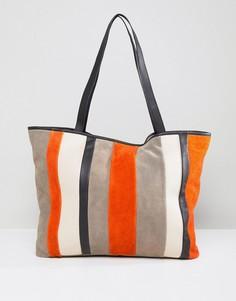 Замшевая сумка для покупок с контрастными полосками ASOS - Мульти