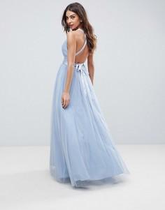 Платье макси для выпускного из тюля с ленточными завязками ASOS PREMIUM - Синий
