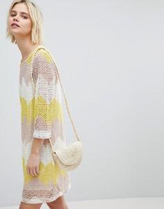 Платье А-силуэта из кружева в стиле колор блок Suncoo - Мульти