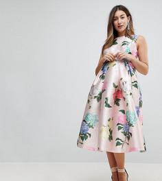 Атласное платье миди с принтом Chi Chi London Maternity - Мульти