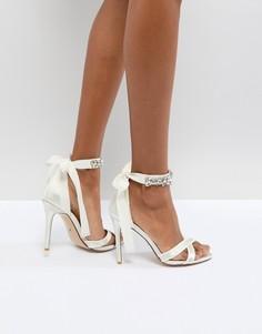 Босоножки на каблуке с камнями на ремешке вокруг щиколотки Dune London Bridal Morgen - Кремовый