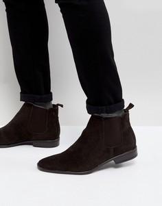 Темно-коричневые ботинки челси из искусственной замши New Look - Коричневый