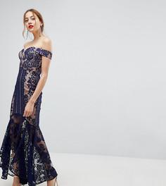 Кружевное платье макси с открытыми плечами Jarlo Tall - Темно-синий