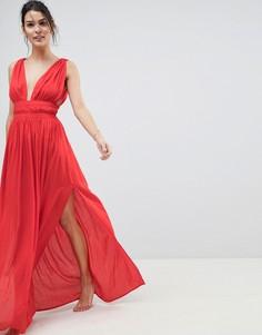 Пляжное платье макси с вырезом в греческом стиле ASOS - Красный