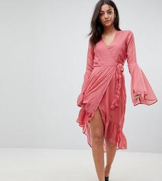 Платье из ткани добби в горошек с рукавами клеш Vero Moda Tall - Розовый