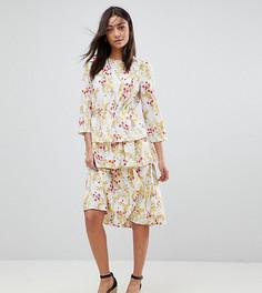 Платье миди с цветочным принтом и оборкой на подоле Vero Moda Tall - Мульти