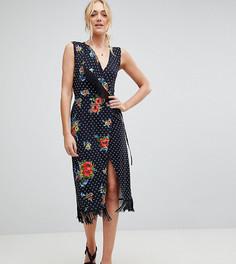 Платье с запахом, бахромой и цветочным принтом ASOS TALL - Мульти