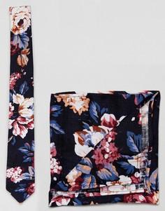 Комплект из галстука и платка для нагрудного кармана с цветочным принтом Moss London - Темно-синий
