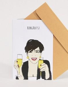 Поздравительная открытка с надписью Kongrats Nocturnal Paper - Мульти