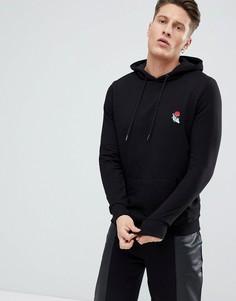 Худи черного цвета с вышитой розой New Look - Черный