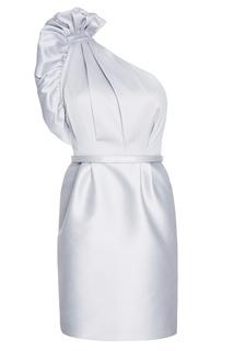 Серое асимметричное платье из хлопка Stella Mc Cartney