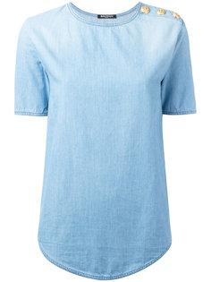 джинсовая футболка с пуговичной отделкой Balmain