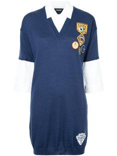 платье-джемпер с рубашечными вставками и нашивками Dsquared2