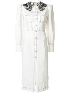 джинсовое платье с кружевным воротником Cristina Savulescu