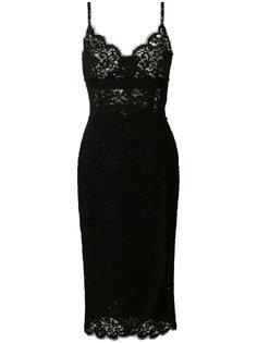 кружевное платье миди на бретельках  Dolce & Gabbana