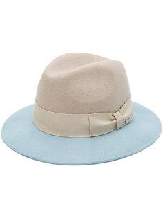 двухцветная шляпа-федора с бантом Woolrich