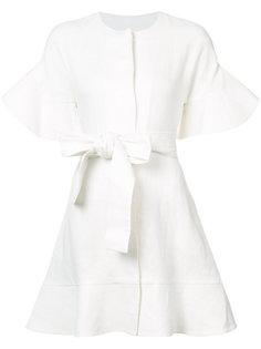 f5520898c00 платье с оборками на рукавах и завязками на талии Alexis