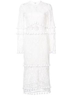 ажурное вязаное платье-миди с кисточками Alexis
