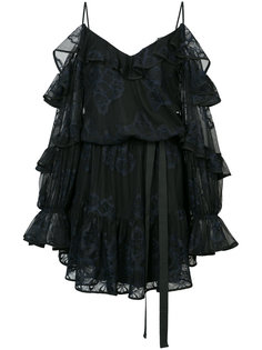 вышитое сетчатое мини-платье с оборками Alexis