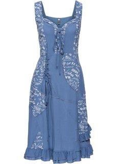 Платье на шнуровке (синий джинсовый с рисунком) Bonprix