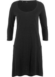 Платье из трикотажа фламе с рукавом 3/4 (черный) Bonprix
