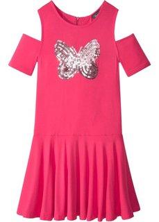 Платье с пайетками и вырезами в области плеч (ярко-розовый гибискус) Bonprix