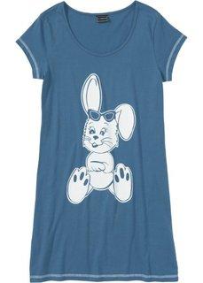 Ночная рубашка (синий джинсовый/белый с рисунком) Bonprix
