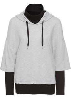 Свитшот с капюшоном (светло-серый меланж/черный) Bonprix