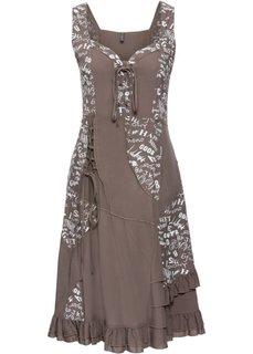 Платье на шнуровке (серо-коричневый с рисунком) Bonprix