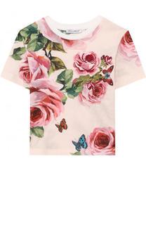 Хлопковая футболка с принтом и аппликацией Dolce & Gabbana