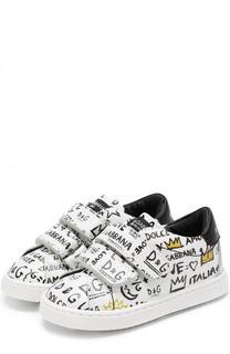 Кожаные кеды с принтом и застежками велькро Dolce & Gabbana