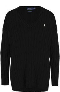 Хлопковый пуловер фактурной вязки с V-образным вырезом Polo Ralph Lauren