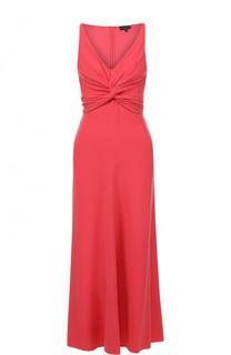 Приталенное платье-миди с драпировкой и V-образным вырезом Emporio Armani