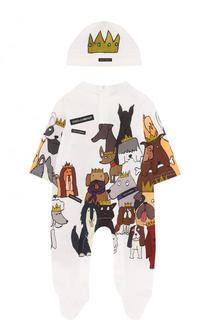 Хлопковый комплект из комбинезона и шапки Dolce & Gabbana
