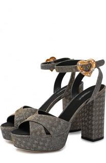 Босоножки Keira из металлизированного текстиля на устойчивом каблуке Dolce & Gabbana