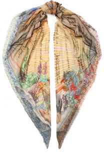 Платок из смеси вискозы и шелка с принтом Faliero Sarti