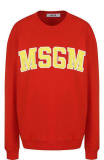 Хлопковый свитшот с контрастным логотипом бренда MSGM