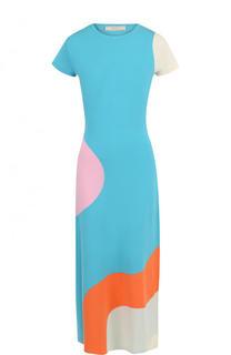 Приталенное платье-миди с принтом и коротким рукавом Tak.Ori