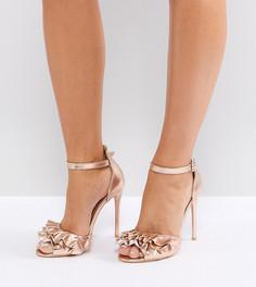 Розово-золотистые босоножки для широкой стопы на каблуке Lost Ink - Золотой