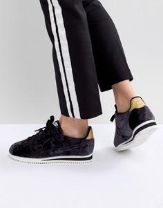 Черные бархатные кроссовки Nike Cortez - Черный