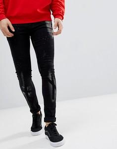 Черные джинсы скинни с выбеленным эффектом ASOS - Черный