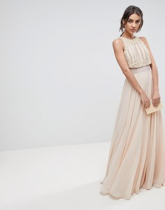 Платье макси с кроп-топом и искусственным жемчугом ASOS - Розовый