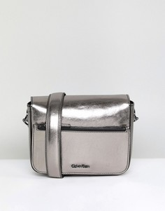 Сумка через плечо металлик с цепочкой Calvin Klein - Серебряный
