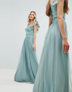 Платье макси с отделкой на лифе и рукавами-оборками Amelia Rose - Зеленый