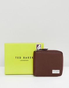 Кожаный бумажник на молнии Ted Baker - Коричневый