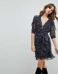 Платье с принтом и запахом BA&SH - Синий Ba&;Sh